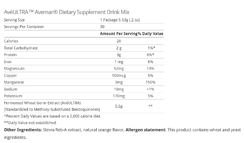 avemar nutrition facts.